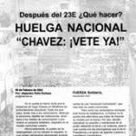 "Folleto: Huelga Nacional ""Chávez: ¡Vete ya!"""