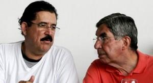 Manuel Zelaya junto a Oscar Arias