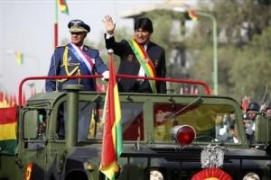 Evo Morales durante desfile militar