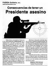 Consecuencias de tener un Presidente asesino