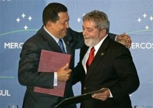 Chávez y Lula en reunión del Mercosur